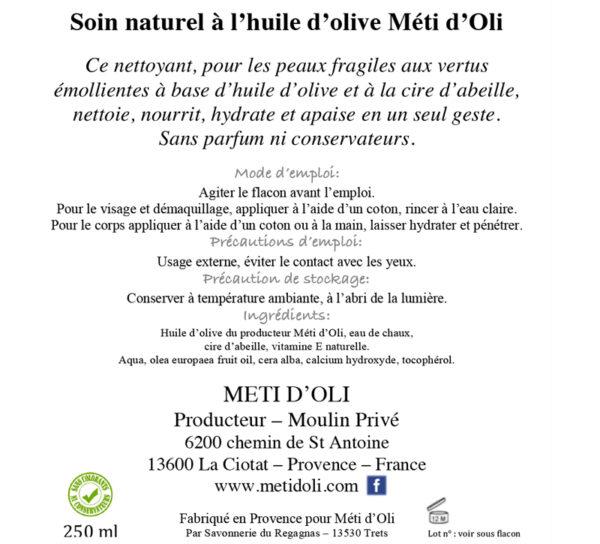Nettoyant Hydratant - Soin naturel à l'huile d'olive